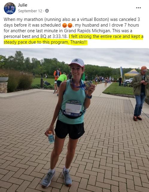 julie running a full marathon PR