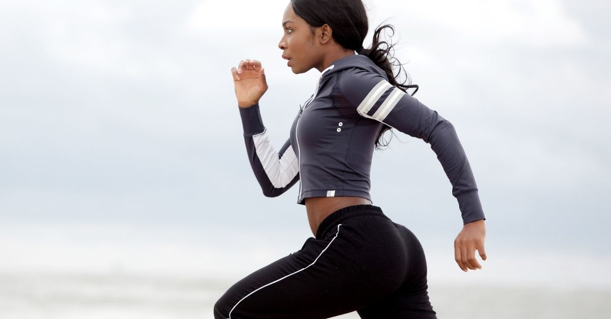 black woman running with good form