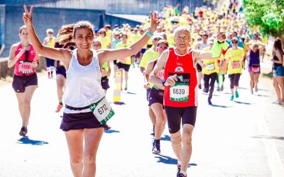 male and female running a race without injury